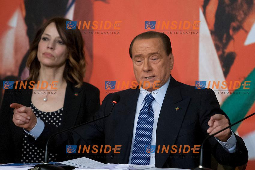 Silvio Berlusconi<br /> Roma 17-04-2014 Sede di Forza Italia. Presentazione dei candidati alle prossime elezioni europee.<br /> Presentation of the candidates of Forza Italia for the next european elections<br /> Photo Samantha Zucchi Insidefoto
