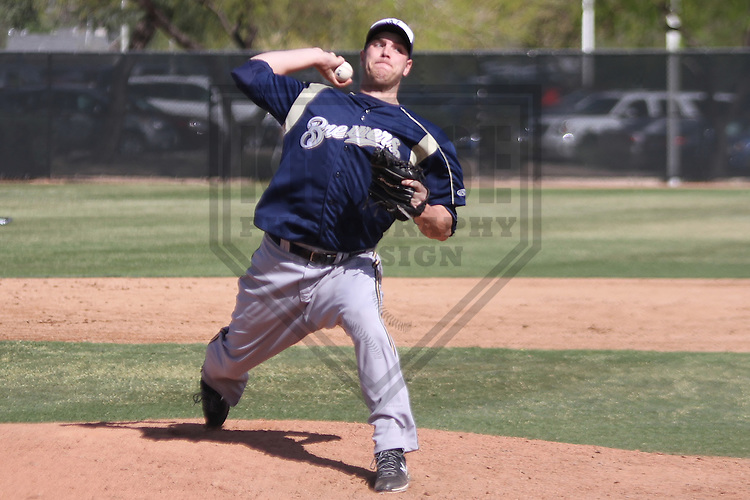MARYVALE - March 2014: Eric Arnett of the Milwaukee Brewers during a spring training game against the Oakland Athletics on March 18th, 2014 at Maryvale Baseball Park in Maryvale, Arizona.  (Photo Credit: Brad Krause)