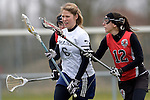 GER - Mainz, Germany, March 20: During the 1. Bundesliga Damen lacrosse match between Mainz Musketeers (white) and SC Frankfurt 1880 (red) on March 20, 2016 at Sportgelaende Dalheimer Weg in Mainz, Germany. Final score 7-12 (HT 3-5). (Photo by Dirk Markgraf / www.265-images.com) *** Local caption *** Katharina Zaenker #6 of Mainz Musketeers, Rebecca Duecker #12 of SC Frankfurt 1880