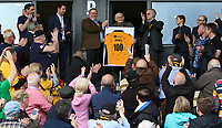 Ron Jones, a lifelong Newport County supporter and former prisoner of war at the Nazi death camp Auschwitz, is presented a shirt in honour of his landmark birthday prior to kick off of the Sky Bet League Two match between Newport County and Notts County at Rodney Parade, Newport, Wales, UK. Saturday 06 May 2017