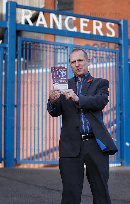 Paul Goodwin from Supporters Direct Scotland outside Ibrox Stadium this morning for the launch of the Buy Rangers Campaign encouraging supporters to join together to buy a combined stake in the club.