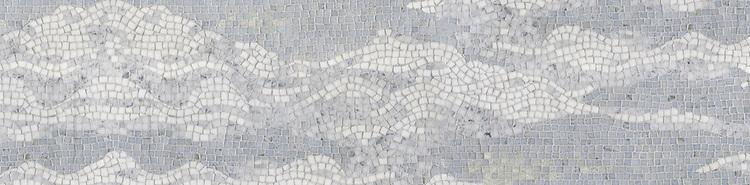 """10"""" Cloud border, a hand-chopped stone mosaic, shown in tumbled Ming Green, Celeste, Calacatta Tia, Carrara , and Thassos."""