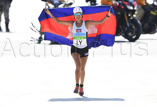 14.08.2016. Rio de Janeiro, Brazil. Nary Ly of Cambodia in action at the finish of the Women's Marathon of the Athletic, Track and Field events during the Rio 2016 Olympic Games at Sambodromo in Rio de Janeiro, Brazil, 14 August 2016.