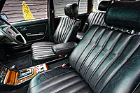The MB tex front seats and arm rest of the Mercedes W123 series 230TE estate version, outside the Penderyn Whisky Distillery in south Wales, UK. Tuesday 19 June 2018
