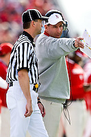 January 1, 2009:      Nebraska head coach Joe Pelini questions a call with a line judge during the  64th annual Konica Minolta Gator Bowl between the Nebraska Cornhuskers  and the Clemson Tigers  at Jacksonville Municipal Stadium in Jacksonville, Florida. Nebraska defeated Clemson 26-21.