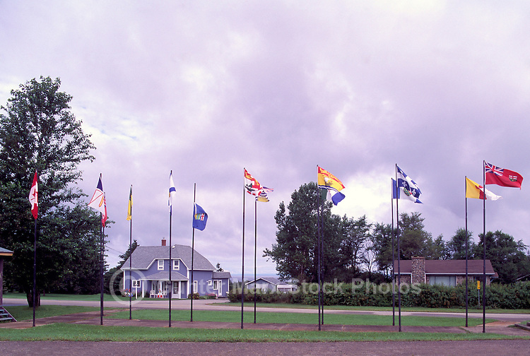 Grande-Anse, NB, New Brunswick, Canada - a Group of Canadian Provincial Flags