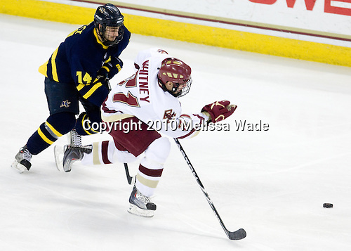 Joe Cucci (Merrimack - 14), Steven Whitney (BC - 21) - The Boston College Eagles defeated the Merrimack College Warriors 7-0 on Tuesday, February 23, 2010 at Conte Forum in Chestnut Hill, Massachusetts.