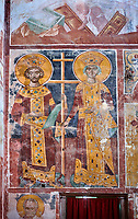 Pictures & images of the Byzantine fresco panels in the Gelati Georgian Orthodox Church of the Virgin, 1106, depicting a Georgian King and Queen.  The medieval Gelati monastic complex near Kutaisi in the Imereti region of western Georgia (country). A UNESCO World Heritage Site.