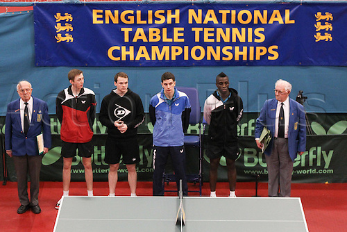 03.03.2013 Sheffield, England.  Paul Drinkhall & Liam Pitchford with Darius Knight & Daniel Reedwith are presented to the spectators prior to the mens doubles final of the English National Table Tennis Championships from the Ponds Forge International Sports Centre. Drinkhall & Pitchford win the title