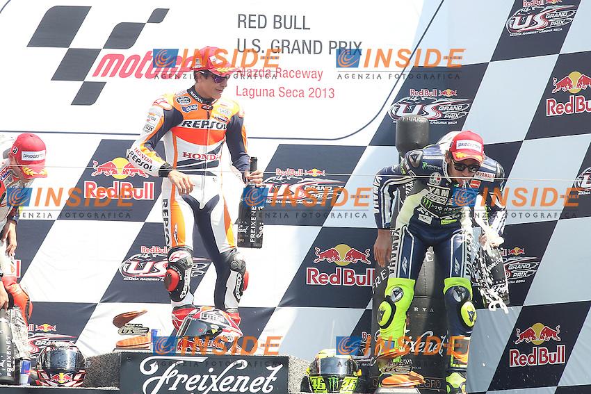 Dani Pedrosa - Repsol Honda team and Valentino Rossi - Yamaha factory team<br /> Podio<br /> 21-07-2013 Laguna Seca (USA)<br /> Motogp world championship<br /> Photo Semedia/Insidefoto<br /> ITALY ONLY