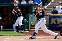 Tyler Grimes (12) of the Wichita State Shockers watches as his hit goes foul during a game against the /m/ on April 9, 2011 at Hammons Field in Springfield, Missouri.  Photo By David Welker/Four Seam Images