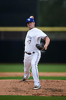 Dunedin Blue Jays pitcher Chris Smith (35) delivers a pitch during the first game of a doubleheader against the Palm Beach Cardinals on August 2, 2015 at Florida Auto Exchange Stadium in Dunedin, Florida.  Palm Beach defeated Dunedin 4-1.  (Mike Janes/Four Seam Images)