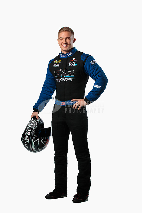 Feb 6, 2019; Pomona, CA, USA; NHRA top fuel driver Jordan Vandergriff poses for a portrait during NHRA Media Day at the NHRA Museum. Mandatory Credit: Mark J. Rebilas-USA TODAY Sports