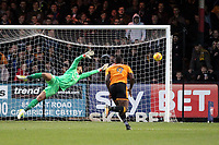 Aaron Chapman of Accrington Stanley dives as the ball goes just wide of the goal during Cambridge United vs Accrington Stanley, Sky Bet EFL League 2 Football at the Cambs Glass Stadium on 11th November 2017