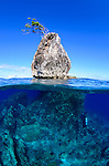 A diver swims under a rock pinnacle with a single tree, Boo Island, Misool region, Raja Ampat,West Papua province, Indonesia, Pacific Ocean