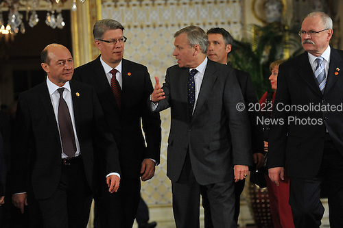 Baden-Baden, Germany - April 4, 2009 -- Heads of State and Government arrive for a Working Dinner at the NATO Summit in Baden-Baden, Germany on Saturday, April 4, 2009.  From left to right: Traian Basescu, President of Romania; Valdis Zatlers, President of Latvia; NATO Secretary General Jaap de Hoop Scheffer and Václav Klaus, President of the Czech Republic..Mandatory Credit: NATO via CNP