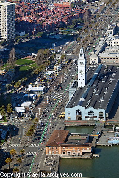 aerial photograph Superbowl City under construction at the Ferry Building during Superbowl 50, San Francisco, California