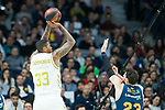 Trey Thompkins shoots for two points against Tornike Shengelia during Real Madrid vs Kirolbet Baskonia game of Liga Endesa. 19 January 2020. (Alterphotos/Francis Gonzalez)