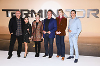 "Tim Miller, Natalia Reyes, Linda Hamilton, Arnold Schwarzenegger, Mackenzie Davis and Gabriel Luna<br /> at the ""Terminator: Dark Fate"" photocall, London.<br /> <br /> ©Ash Knotek  D3529 17/10/2019"