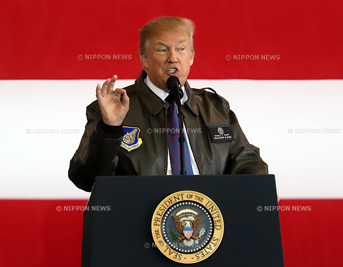 November 5, 2017, Tokyo, Japan - U.S. President Donald Trump delivers a speech before U.S. soldiers at the Yokota Air Base in Tokyo on Sunday, November 5, 2017. Trump accompanied by his wife Melania arrived here on a three0day official visit to Japan for the first leg of his Asian tour.    (Photo by Yoshio Tsunoda/AFLO) LWX -ytd-