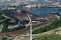 GERMANY Hamburg, aerial view of port, river Elbe and 6 MW Enercon E-126 windmill infront of coal and ore harbour Hansaport / DEUTSCHLAND Hamburg Hafen, Suederelbe, Enercon E-126 mit 6 MW Windkraftanlage in Altenwerder vor Hansaport Kohlehafen und ADM Oelmuehle