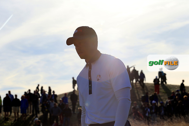 Tiger Woods (Team USA) walks off the 13th tee during Saturday's Foursomes Matches at the 2018 Ryder Cup 2018, Le Golf National, Ile-de-France, France. 29/09/2018.<br /> Picture Eoin Clarke / Golffile.ie<br /> <br /> All photo usage must carry mandatory copyright credit (© Golffile   Eoin Clarke)