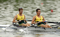 Poznan, POLAND.  2006, FISA, Rowing, World Cup,  AUS  LM2X bow  Tom GIBSON and Sam  BELTZ, move  away from  the  start, on the Malta  Lake. Regatta Course, Poznan, Thurs. 15.05.2006. © Peter Spurrier   ..[Mandatory Credit Peter Spurrier/ Intersport Images] Rowing Course:Malta Rowing Course, Poznan, POLAND