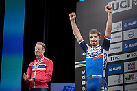 Peter Sagan (SVK/Bora-Hansgrohe) crowns himself World Champion for the 3rd (successive) time <br /> Alexander Kristoff  (NOR/Katusha-Alpecin) takes silver.<br /> <br /> Men Elite Road Race<br /> <br /> UCI 2017 Road World Championships - Bergen/Norway