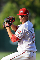 Pitcher Jamie Callahan (23) of the Greenville Drive in a game against the Lexington Legends on Wednesday, June 4, 2014, at Fluor Field at the West End in Greenville, South Carolina. Callahan, from Hamer, S.C., was a 2nd Round pick of the Boston Red Sox in the 2012 First-Year Player Draft. Callahan is Boston's No. 22 prospect, according to Baseball America. Lexington won, 9-3. (Tom Priddy/Four Seam Images)