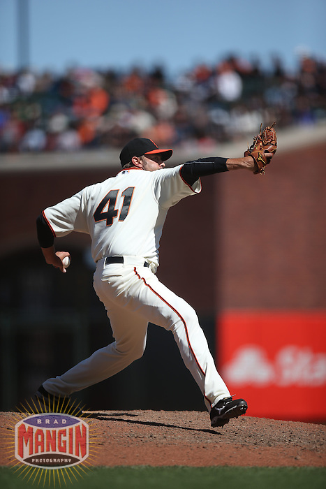 SAN FRANCISCO, CA - MAY 18:  Jeremy Affeldt #41 of the San Francisco Giants pitches against the Miami Marlins during the game at AT&T Park on Sunday, May 18, 2014 in San Francisco, California. Photo by Brad Mangin