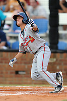Danville Braves shortstop Mikey Reynolds #1 homers in the fifth inning of a game against the Johnson City Cardinals at Howard Johnson Field on June 23, 2013 in Johnson City, Tennessee. The Cardinals won the game 5-4. (Tony Farlow/Four Seam Images)