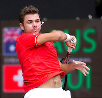 STANLINAS WAWRINKA (SUI) against BERNARD TOMIC (Aus) in the First Rubber of the Davis Cup between Australia and Switzerland. Bernard Tomic beat Stalinas Wawrinka 4-6 6-3 6-3 6-3...Tennis - Davis Cup - World Group - Royal Sydney Golf Club - Sydney - Day 1 - Friday September 16th 2011..© AMN Images, Barry House, 20-22 Worple Road, London, SW19 4DH, UK..+44 208 947 0100.www.amnimages.photoshelter.com.www.advantagemedianetwork.com.