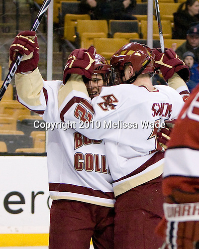 Cam Atkinson (BC - 13), Ben Smith (BC - 12) - The Boston College Eagles defeated the Harvard University Crimson 6-0 on Monday, February 1, 2010, in the first round of the 2010 Beanpot at the TD Garden in Boston, Massachusetts.