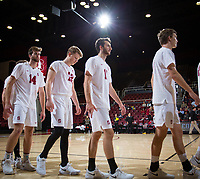 STANFORD, CA - January 17, 2019: Kyler Presho, Jordan Ewert, Chris Moore, Stephen Moye at Maples Pavilion. The Stanford Cardinal defeated UC Irvine 27-25, 17-25, 25-22, and 27-25.