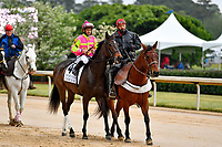 HOT SPRINGS, AR - APRIL 13:  Fantasy Stakes at Oaklawn Park on April 13, 2018 in Hot Springs, Arkansas. #4 Cosmic Burst with jockey Richard E. Eramia.  (Photo by Ted McClenning/Eclipse Sportswire/Getty Images)