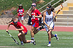 Torrance, CA 05/11/13 - Jackie Adelsberg (Agoura #12), Jenny Lange (Los Alamitos #3) and Grace Schmidt-Beck (Los Alamitos #19) during the 2013 Los Angeles/Orange County Championship game between Los Alamitos and Agoura.  Los Alamitos defeated Agoura 19-4.