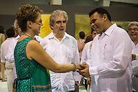 De izquierda a derecha la pintora mexicana Marcela Lobo, Rafael de Tovar y de Teresa titular de CONACULTA y el gobernador del estado Yucatan Rolando Zapata Bello durante la exposicion de Marcela Lobo en el museo MACAY de Merida Yucatan el 19 de Julio del 2013.<br /> Foto: Mauricio Palos /NortePhoto