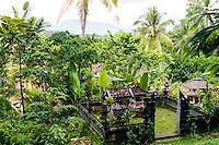 Bali, Karangasem, Amlapura. View from the Rendang to Amlapura road, a family temple in the foreground.