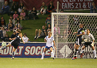 Jill Gilbeau #3 of the Washington Freedom lines up a shot against the Boston Breakers during a WPS match at the Maryland Soccerplex, in Boyd's, Maryland, on April 18 2009. Breakers won the match 3-1.