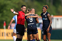 Cary, North Carolina  - Saturday April 29, 2017: Lynn Williams (9) celebrates her goal with Jaelene Hinkle (behind) and Jessica McDonald during a regular season National Women's Soccer League (NWSL) match between the North Carolina Courage and the Orlando Pride at Sahlen's Stadium at WakeMed Soccer Park.