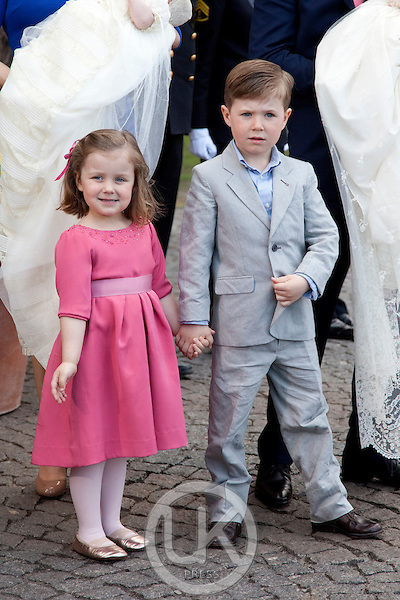 Crown Prince Frederik, and Crown Princess Mary, Prince Christian, and Princess Isabella, attend.The Christening of the Danish Royal Twins, at Holmens Church, Copenhagen..The twins were christened, Prince Vincent Frederik Minik Alexander and Princess Josephine Sophia Ivalo Mathilda