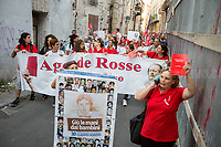 &quot;Hands Off the Children&quot;.<br /> <br /> Palermo (Sicily - Italy), 17/07/2017. March of the Agende Rosse, from &quot;Casa di Paolo&quot; to the Faculty of Law at the University of Palermo, to mark the 25th Anniversary of Via D'Amelio bombing where an est. 100kg TNT bomb killed the anti-mafia Magistrate Paolo Borsellino. Also killed by the bomb were five members of Borsellino's police &quot;scorta&quot; (escorts from the special branch of the Italian police force who protect Judges). The police officers were: Agostino Catalano, Emanuela Loi (the first Italian female member of the police special branch and the first one to be killed on duty), Vincenzo Li Muli, Walter Eddie Cosina and Claudio Traina.<br /> <br /> For more info please click here: http://19luglio1992.com &amp; https://www.facebook.com/agenderosse/ &amp; https://en.wikipedia.org/wiki/Via_D%27Amelio_bombing (English Version) &amp; https://it.wikipedia.org/wiki/Strage_di_via_D%27Amelio (Italian Version)