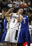 Nevada's AJ West reacts to missing a shot he was fouled on during an NCAA basketball game against Air Force, in Reno, Nev., on Saturday, Feb. 1, 2014. Nevada won 69-56 in overtime. Air Force's Marek Olesinski is at left rear and Justin Hammonds, right rear. (AP Photo/Cathleen Allison)