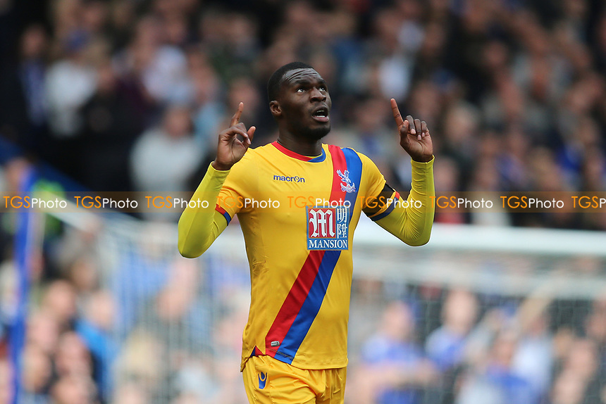 Christian Benteke of Crystal Palace scores and celebrates 2-1 to Palace during Chelsea vs Crystal Palace, Premier League Football at Stamford Bridge on 1st April 2017
