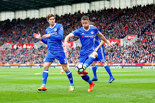 March 18th 2017, Stoke On Trent, Staffordshire, England; EPL Premiership football; Stoke City versus Chelsea; Gary Cahill of Chelsea clears the ball