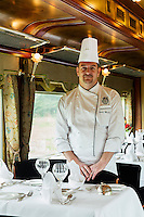 Travelling in style on the Eastern & Oriental Express from Bangkok to Singapore. Head chef Yannis Martineau in the dining car.