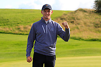 Liam Nolan (Galway) wins his match on the 17th green during the Final of the AIG Senior Cup in the AIG Cups & Shields Connacht Finals 2019 in Westport Golf Club, Westport, Co. Mayo on Sunday 11th August 2019.<br /> <br /> Picture:  Thos Caffrey / www.golffile.ie<br /> <br /> All photos usage must carry mandatory copyright credit (© Golffile | Thos Caffrey)