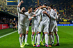Alvaro Morata of Real Madrid celebrates with teammates after scoring during their La Liga match between Villarreal CF and Real Madrid at the Estadio de la Cerámica on 26 February 2017 in Villarreal, Spain. Photo by Maria Jose Segovia Carmona / Power Sport Images