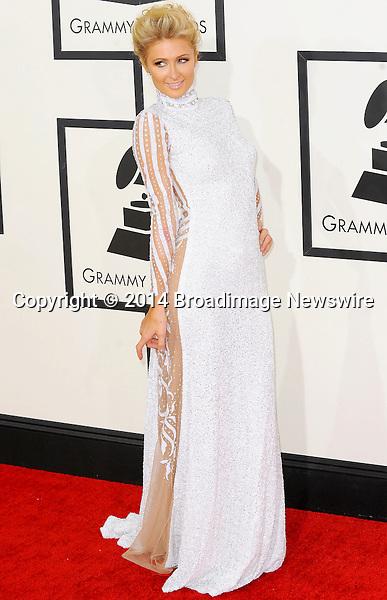 Pictured: Paris Hilton<br /> Mandatory Credit &copy; Adhemar Sburlati/Broadimage<br /> The Grammy Awards  2014 - Arrivals<br /> <br /> 1/26/14, Los Angeles, California, United States of America<br /> <br /> Broadimage Newswire<br /> Los Angeles 1+  (310) 301-1027<br /> New York      1+  (646) 827-9134<br /> sales@broadimage.com<br /> http://www.broadimage.com