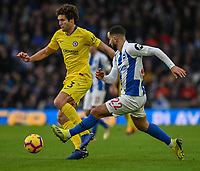 Chelsea's Marcos Alonso (left) is tackled by Brighton &amp; Hove Albion's Martin Montoya (right) <br /> <br /> Photographer David Horton/CameraSport<br /> <br /> The Premier League - Brighton and Hove Albion v Chelsea - Sunday 16th December 2018 - The Amex Stadium - Brighton<br /> <br /> World Copyright &copy; 2018 CameraSport. All rights reserved. 43 Linden Ave. Countesthorpe. Leicester. England. LE8 5PG - Tel: +44 (0) 116 277 4147 - admin@camerasport.com - www.camerasport.com